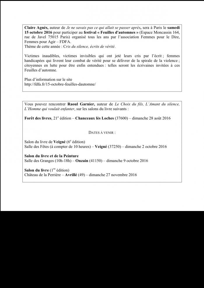Dates et lieux des salons, pour Claire et Raoul