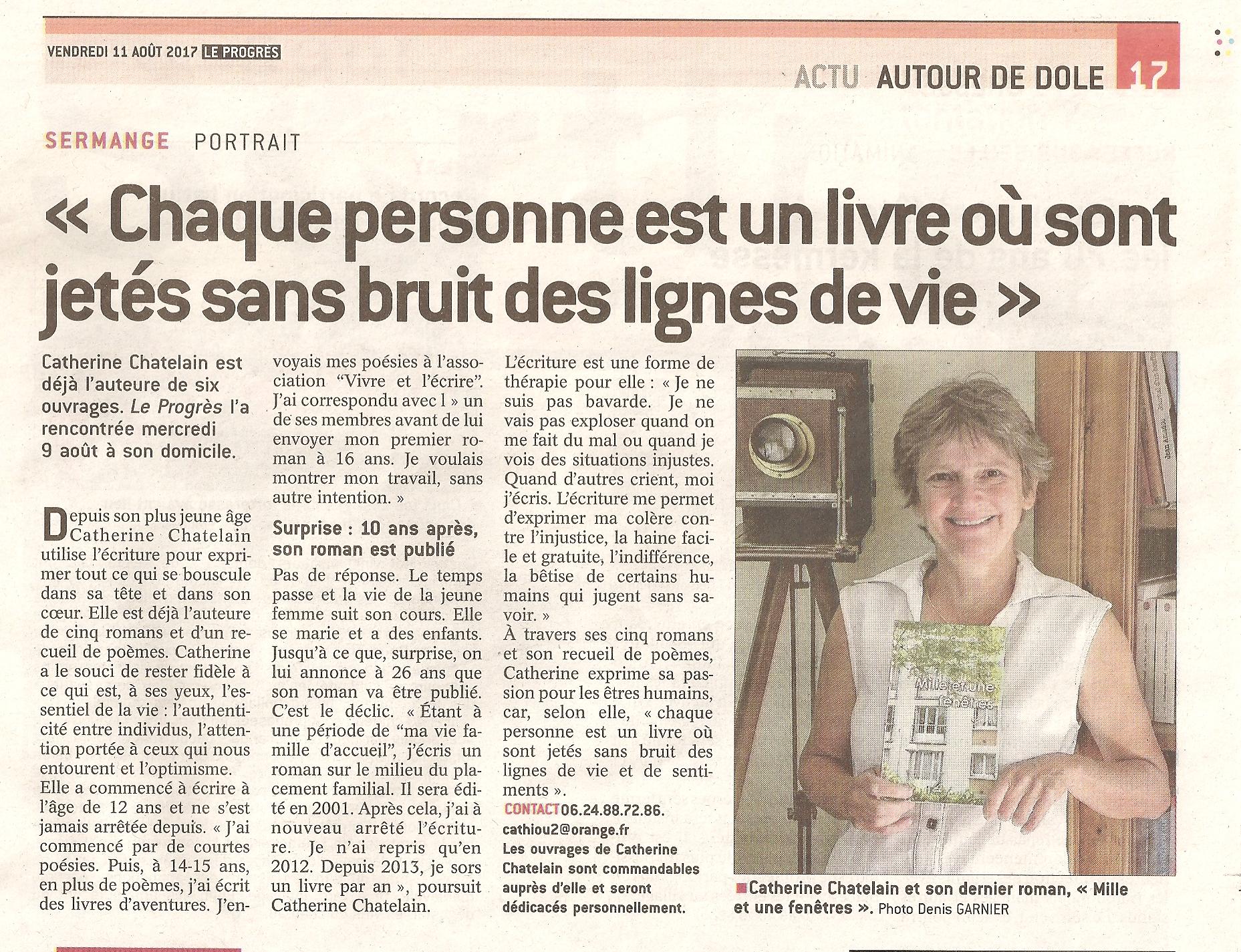 """Interview de Catherine Chatelain, parue dans """"Le Progrès"""" du 11 août 2017"""