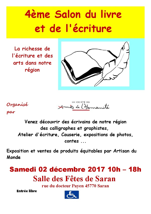 4e salon du livre et de l criture saran 45 2 d cembre for Salon du livre 2017 montreuil