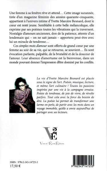 4e de couverture du recueil de poèmes d'Yvette Marcère Besnard