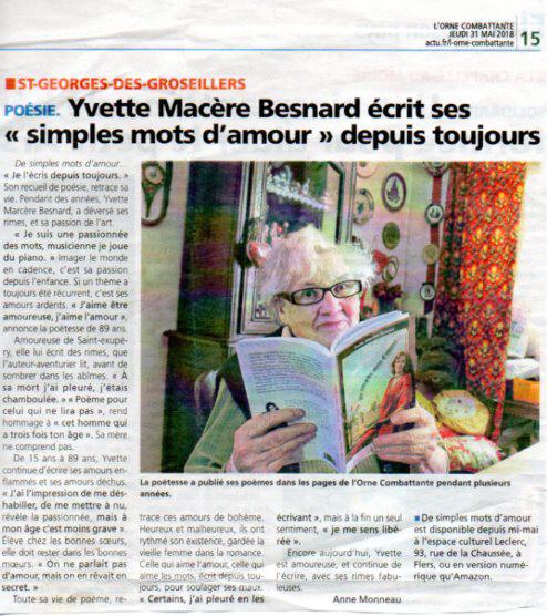"""Interview d'Yvette Marcère Besnard parue dans """"L'Orne Combattante"""" du 31 mai 2018"""