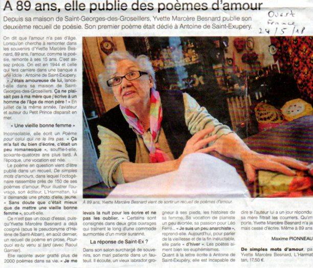 """Article paru dans """"Ouest France"""" du 24 mai 2018"""